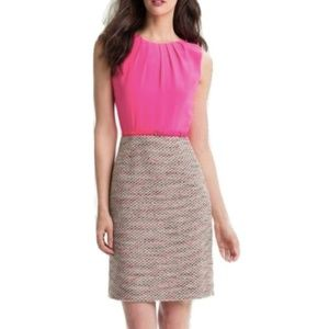 Kate Spade Evelyn Silk & Tweed Sheath Dress Pink